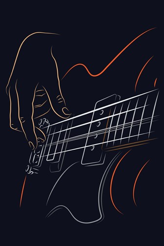 picking bass strings with right hand fingers