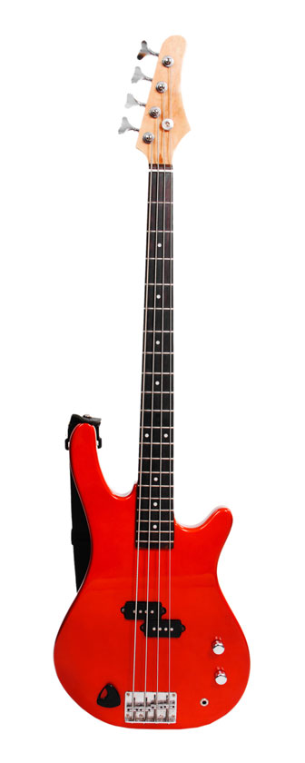 red bass guitar isolated on white