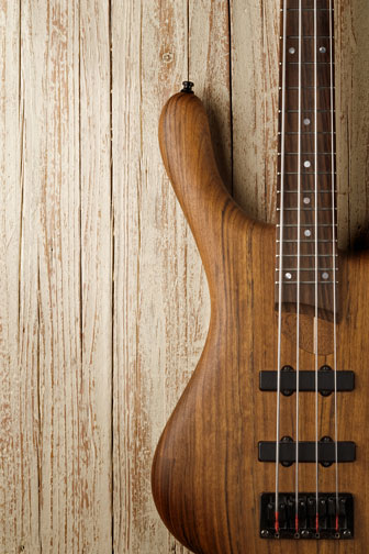 bass guitar with a wood body